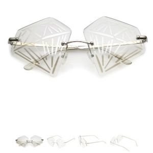 NOVELTY RIMLESS DIAMOND SUNGLASSES METAL ARMS NEW